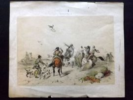 After Victor Adam C1850 Antique Print. Chasse au Faucon. Falcon Hunt